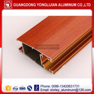 China Powder coated wood grain aluminum extruded profile for door, aluminum door frame wood color on sale