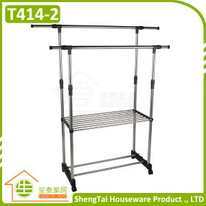 China Multi Use Double Tier Adjustable Stand Household Storage Clothes Drying Shelf on sale