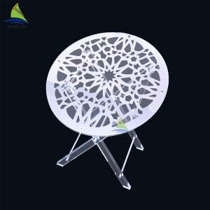 China Round Acrylic Coffee Table Custom Oral Shape Clear Folding Acrylic Picnic Table on sale