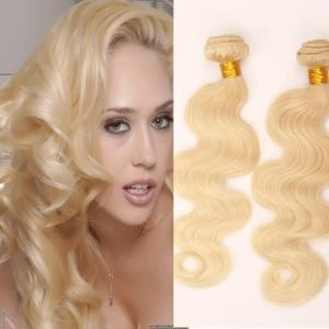 China Body Wave virgin brazilian hair weft  brazilian  weave hair blonde 613 platinum blonde on sale