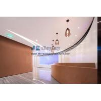 Hair Salon Interior working furniture by baking finish board and wood veneer with white lines jade decoration used glass