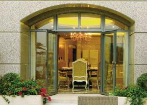 China Insulated Glass Aluminium Casement Door Waterproof With Grill CCC , ISO 9001 on sale