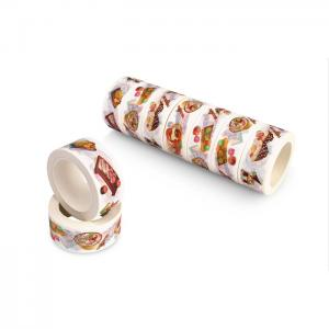 China Coloured Floral Washi Paper Tape , Thin Patterned Craft TapeRubber Adhesive on sale