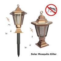 Solar Mosquito Killer Hexagonal Path Light Outdoor Garden Pillar Mosquito Killer Lamp Gold Lawn Bug Zapper Lighting