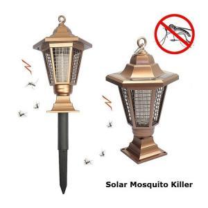 China Solar Mosquito Killer Hexagonal Path Light Outdoor Garden Pillar Mosquito Killer Lamp Gold Lawn Bug Zapper Lighting on sale