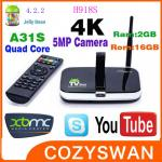 China Quad Core Camera 4K Android Smart TV Box H918S Allwinner A31S Google TV Boxes wholesale