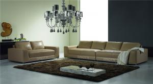 Quality Beige Genuine Luxury  Leather Sof ,  Modern black leather sofa for sale
