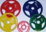 Color rubberized barbell Three-Hole Plastic Grip Barbells  Large Hole  51mm Barbell Weight Lifting Weight StackS