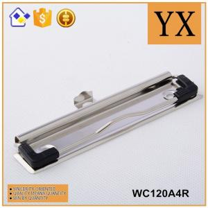China 120mm Bright Nickel plating Metal Clipboard Clips With Metal Hanger and Rubber Corner on sale
