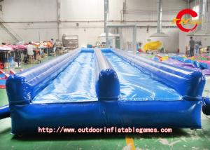 China Blue Double Slide Inflatable Air Track PVC Inflatable Cushion on sale