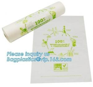 China Eco-friendly compostable LDPE transparent frozen flat food bags on roll, Biodegradable Plastic T Shirt Food Bag Composta on sale