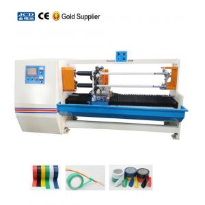 China JC-C02 Good quality high precision full automatic double shafts adhesive tapes log roll cutting machine on sale