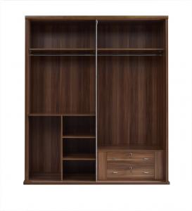 China Wood Panel Custom In-wall Cloth Wardrobe cabinet with adjustable shelves and trousers rack storage inner drawers in lock on sale