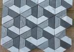 Silver Grey Irregular Marble Mosaic Wall Tile , Mosaic Shower Tile For Bathroom