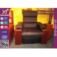 Modern Genuine Leather Finished Home Theater Sofa , Leisure Electric Recliner Sofa