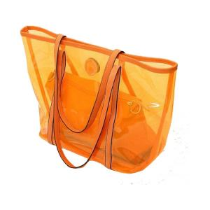 China Transparent Ladies Tote Bags Clear PVC Handbags , Orange / Red / Blue on sale