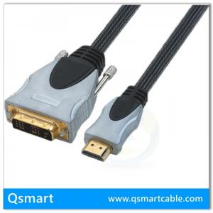 China QS6004,QSMART  Gold plated 1080p resolution OFC Conductor with High-density braiding HDMI to DVI-D Digital Video Cable on sale