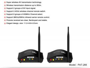 China 2.4GHz Long distance 350 meter transmission Wireless Multi TV Transmitter with IR Repeater PAT-266 on sale