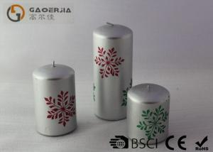 China LED candles with snow printing pictures , christmas decoration smoke free , flamless candle gold silver supplier