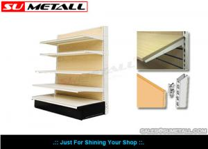 China Medium Duty Supermarket Display Shelving Grocery Store Shelves With MDF Wood Back on sale