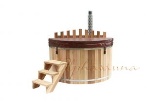 China Deluxe Canadian Imported Red Cedar Wood Fired outdoor sauna and hot tub with Cedar fence on sale