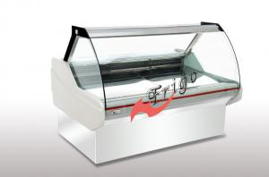 China Front Opening Upright Glass Display Case , 4 Wheels Curved Glass Deli Case For Meat supplier