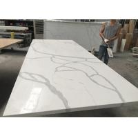 Gray And White Quartz Tile Countertop Kitchen Cabinet Top Customised Size