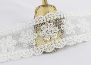 China Scalloped Edge Flower Embroidered Lace Ribbon , Embroidered Mesh Lace Trim on sale
