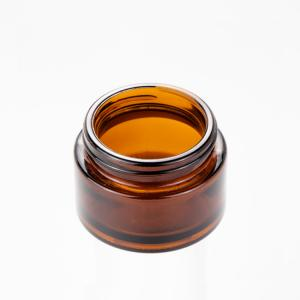 China Black Refillable Glass Cream Jars 15g 20g 30g 50g 100g Round Small Amber Glass Jars on sale