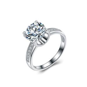China 925 Sterling Silver Round Cut Brilliant Cubic Zirconia Ring Lady's Jewelry (RE671) on sale