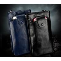 Soft Oil wax cowhide Genuine Leather Men zipper long wallet
