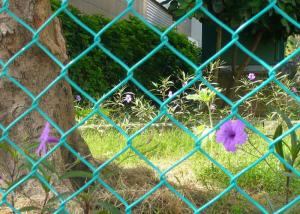 China 6x6cm Aperture 6 FT Chain Link Fence Galvanized PVC Coated  As Ground Fencing on sale