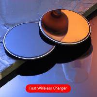 10W Round Desktop Pad LED Light Wireless Phone Charger For Iphone X 8 Plus