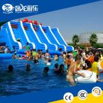 Amusement park usage giant adult super Inflatable double lane water slide with Pool