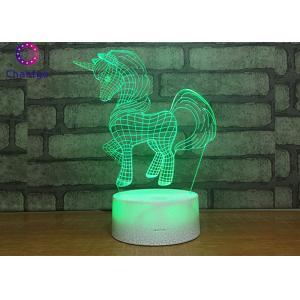 Transparent Acrylic 3D Unicorn Lamp Visual Base 87*87*38mm Customized Pattern