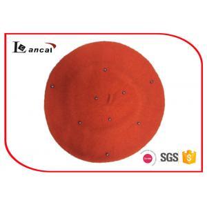China 100% Wool orange knit beret hat little bead for season autumn on sale
