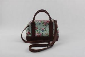 China Custom Printed Floral Canvas And Leather Crossbody Bag For Women Easily Washable on sale