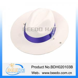 China China cowboy hat white 100% wool felt cowboy hat with purple grosgrain ribbon on sale