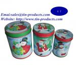 Gift Set of 3 Round Tin Metal Box with Slip Cover, Gift Tin Box Set for Christmas
