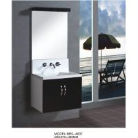 Floating wall cabinet acrylic - resin integrated sink basin , black bathroom wall cabinet NON Drawers