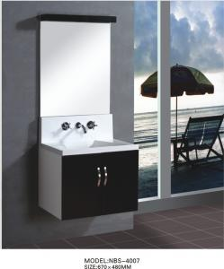 China Floating wall cabinet acrylic - resin integrated sink basin , black bathroom wall cabinet NON Drawers on sale