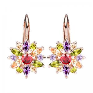 China 18K Colorful Rose Gold Cubic Zirconia Earrings , Cubic Zirconia Drop Earrings on sale