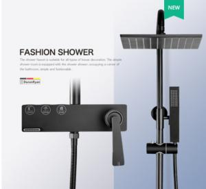 China Wall Mounted Copper Black Champagne Rain Shower Faucets With Handle on sale