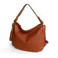 China Wholesale Price Brown Embossed Genuine Leather Women Handbag Crossbody Bag #3081B on sale