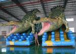 Giant Crocodile Inflatable Dry Slides Custom Shark PVC Double Lane Bouncer Slides