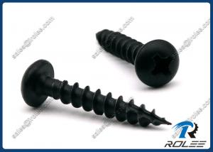 Quality Black Stainless Steel 410 Philips Round Head Wood Screw, Type 17 Point, Coarse for sale