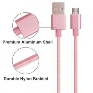 China High Speed Lightning Data Cable Micro USB 3.0 Gold / Pink Color With TPE Jacket on sale