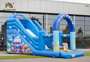 China Durable PVC Inflatable Dry Slide Digital Printed Blue Oceanic With CE Blower on sale