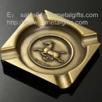 Die casted 8 inch alloy square cigar ashtrays, square antique brass metal ash tray,