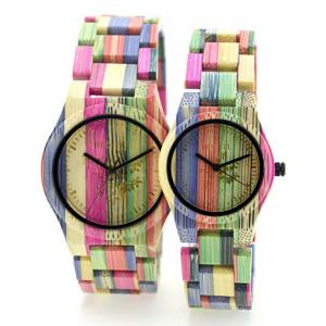 China Colorful Handmade Bamboo Wrist Watch For Lovers , Bewell Bamboo Watch on sale